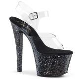 Černý 18 cm SKY-308LG třpyt boty na platformě a podpatku