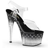 Černý 18 cm STARDUST-708T Platformě Sandály Podpatky