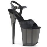 Černý 20 cm FLAMINGO-809T Akryl boty na platformě a podpatku