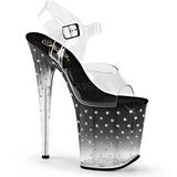 Černý 20 cm STARDUST-808T Platformě Sandály Podpatky