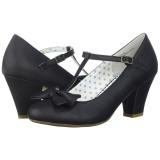 Černý 6,5 cm WIGGLE-50 Pinup lodičky boty na tlustém podpatku