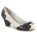 Černý 6,5 cm retro vintage WIGGLE-17 Pinup lodičky boty na tlustém podpatku