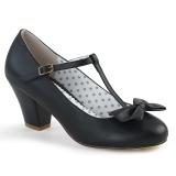 Černý 6,5 cm retro vintage WIGGLE-50 Pinup lodičky boty na tlustém podpatku