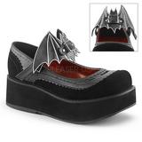 Černý 6 cm DEMONIA SPRITE-09 platformě gotické boty
