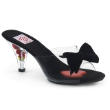 Černý 7,5 cm BELLE-301BOW Pinup pantofle s motýlek