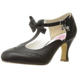 Černý 7,5 cm retro vintage FLAPPER-11 Pinup lodičky boty s nízkým podpatkem