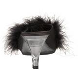 Černý 8 cm BELLE-301F peří marabu Vysoké Podpatku