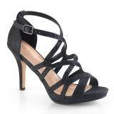 Černý 9,5 cm DAPHNE-42 sandály s jehlovým podpatkem