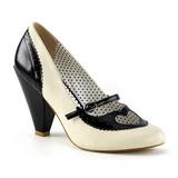 Černý 9,5 cm retro vintage POPPY-18 Pinup lodičky boty s nízkým podpatkem