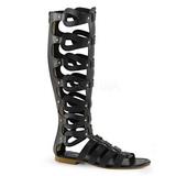 Černý ATHENA-200 dámské sandály gladiátorky po kolena