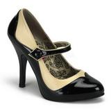 Černý Bezový 11,5 cm rockabilly TEMPT-07 dámské boty na vysokém podpatku