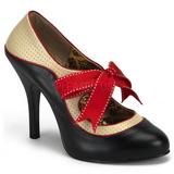 Černý Bezový 11,5 cm rockabilly TEMPT-27 dámské boty na vysokém podpatku