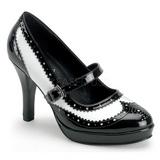 Černý Bílá 10,5 cm CONTESSA-06 dámské boty na vysokém podpatku