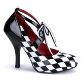 Černý Bílá 10,5 cm HARLEQUIN-03 dámské boty na vysokém podpatku
