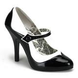 Černý Bílá 11,5 cm rockabilly TEMPT-07 dámské boty na vysokém podpatku