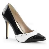 Černý Bílá 13 cm AMUSE-26 dámské boty na vysokém podpatku