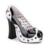 Černý Bílá 13 cm POKER-21 dámské boty na vysokém podpatku