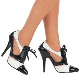 Černý Bílá 13 cm SEDUCE-458 Oxford dámské boty na vysokém podpatku