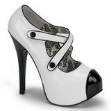 Černý Bílá 14,5 cm TEEZE-23 dámské boty na vysokém podpatku
