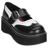 Černý Bílá 5 cm EMILY-302 platformě gotické boty