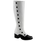 Černý Bílá 5 cm RETRO-306 Dámské Kozačky na podpatku