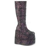 Černý Glitter 18 cm STACK-301G demonia kozačky - unisex cyberpunk boty