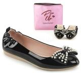 Černý IVY-09 balerínky ploché dámské boty s perly