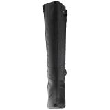 Černý Koženka 10 cm DREAM-2030 velké velikosti kozačky dámské