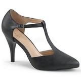 Černý Koženka 10 cm DREAM-425 velké velikosti lodičky obuv