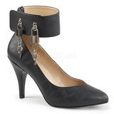 Černý Koženka 10 cm DREAM-432 velké velikosti lodičky obuv