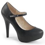 Černý Koženka 13,5 cm CHLOE-02 velké velikosti lodičky obuv