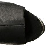 Černý Koženka 15 cm DELIGHT-3019 Kozačky Nad Kolena Platformě