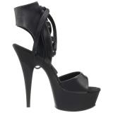 Černý Koženka 15 cm DELIGHT-600-14 pleaser sandály na platformě