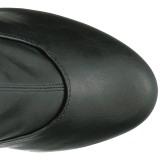 Černý Koženka 15 cm KISS-3000 Kozačky Nad Kolena Platformě