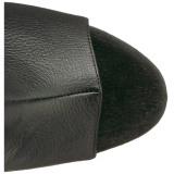 Černý Koženka 18 cm ADORE-3019 Kozačky Nad Kolena Platformě