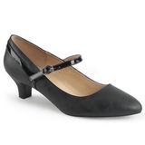 Černý Koženka 5 cm FAB-425 velké velikosti lodičky obuv