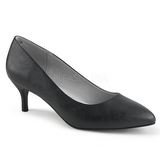 Černý Koženka 6,5 cm KITTEN-01 velké velikosti lodičky obuv