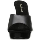 Černý Kůže 14 cm COCKTAIL-501L Pantofle Vysoké Podpatky