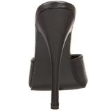 Černý Kůže 15 cm DOMINA-101 Pantofle Vysoké Podpatky