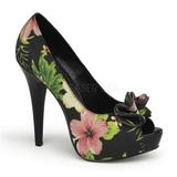 Černý Květinový 13 cm LOLITA-11 dámské boty na vysokém podpatku