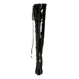 Černý Lak 13 cm ELECTRA-3050 Vysoké Kozačky Nad Kolena