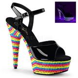 Černý Lak 15 cm DELIGHT-609RBS Sandály Neon Platformě