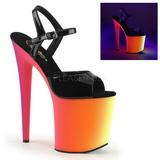Černý Lak 20 cm RAINBOW-809UV Sandály Neon Platformě
