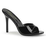 Černý Lakovaná 10 cm CLASSIQUE-01 velké velikosti pantofle dámské
