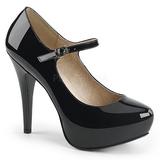 Černý Lakovaná 13,5 cm CHLOE-02 velké velikosti lodičky obuv