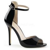 Černý Lakované 13 cm AMUSE-14 Večerní Sandály s podpatkem