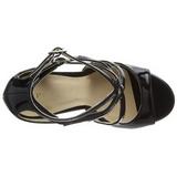 Černý Lakované 13 cm AMUSE-15 Večerní Sandály s podpatkem
