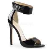 Černý Lakované 13 cm SEXY-19 Večerní Sandály s podpatkem