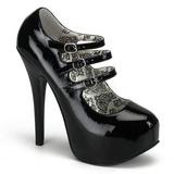 Černý Lakované 14,5 cm TEEZE-05 dámské boty na vysokém podpatku