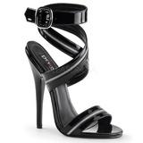Černý Lakované 15 cm DOMINA-119 High Heels Sandály Dámské